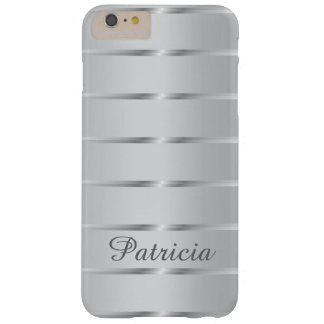 Stylish Silver Stripes Custom Name Barely There iPhone 6 Plus Case