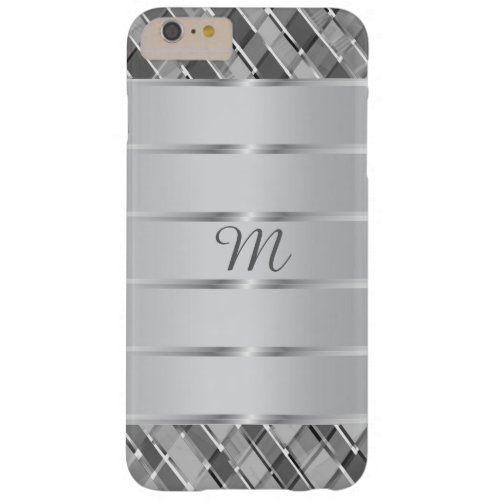 Stylish Silver Stripes Monogrammed Barely There iPhone 6 Plus Case