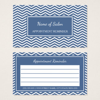 Stylish Slate Blue Chevron Salon Appointment Business Card