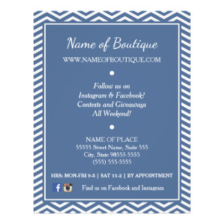 Stylish Slate Blue Chevrons Boutique Events Flyer