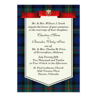 Stylish Smith Tartan Plaid Custom Wedding Card