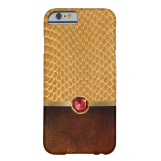 Stylish Snake Scales Ruby Stone & Leather Barely There iPhone 6 Case