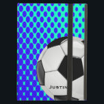 "Stylish Soccer iPad Air Case<br><div class=""desc"">Great looking iPad Air case,  with built in stand,  with graphics of a blue and mint green gradient dot pattern.  Graphics of a white and black soccer ball,  on the front of the case,  has black custom text.  Personalize the text for yourself or your favorite soccer fan or player.</div>"