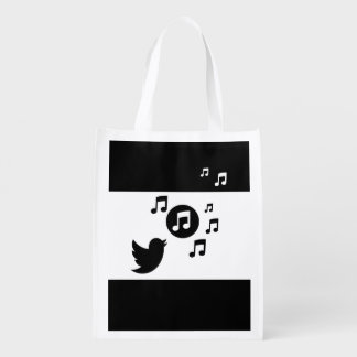 Stylish Songbird Black and White Grocery Bag