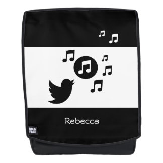 Stylish Songbird Black and White Personalized Backpack