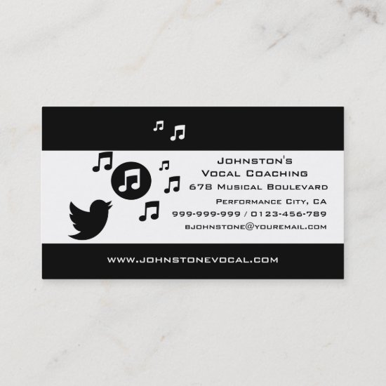 Stylish Songbird Black and White Personalized Business Card