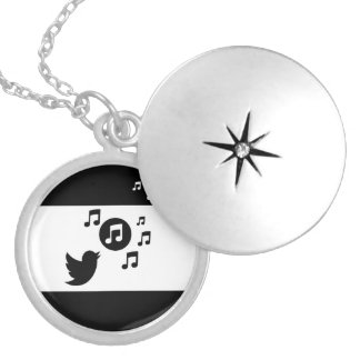 Stylish Songbird Black and White Silver Plated Necklace