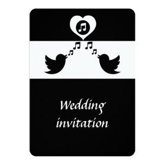 Stylish Songbird Black and White Wedding Card