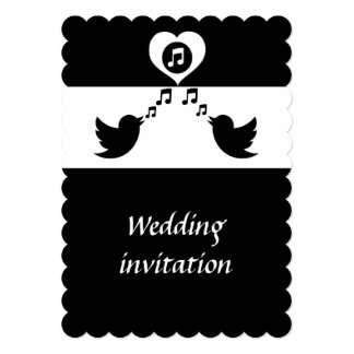 Stylish Songbird Black and White Wedding 5x7 Paper Invitation Card