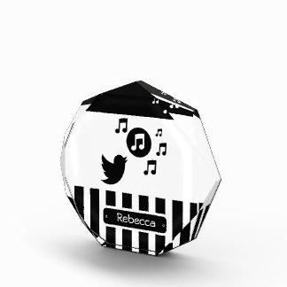 Stylish Songbird Black White Personalized Stripes Award