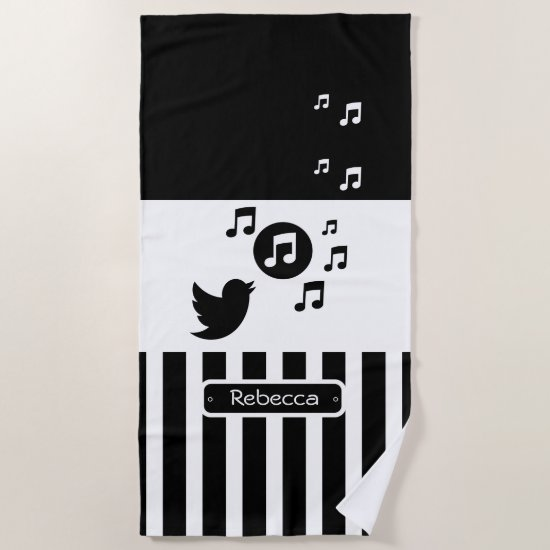 Stylish Songbird Black White Personalized Stripes Beach Towel