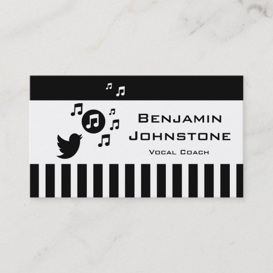 Stylish Songbird Black White Personalized Stripes Business Card