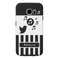 Stylish Songbird Black White Personalized Stripes Samsung Galaxy S6 Cases