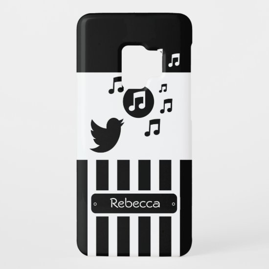 Stylish Songbird Black White Personalized Stripes Case-Mate Samsung Galaxy S9 Case