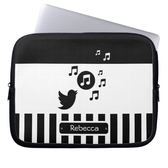 Stylish Songbird Black White Personalized Stripes Computer Sleeve