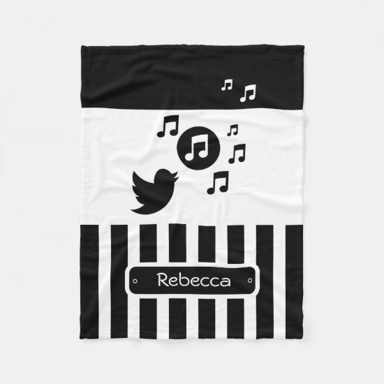 Stylish Songbird Black White Personalized Stripes Fleece Blanket