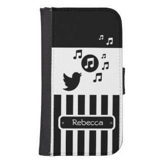 Stylish Songbird Black White Personalized Stripes Galaxy S4 Wallet Case