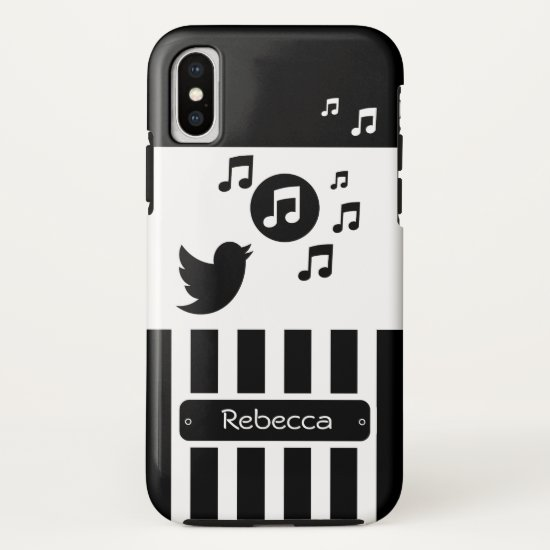 Stylish Songbird Black White Personalized Stripes iPhone XS Case