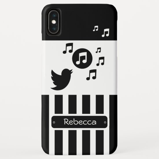 Stylish Songbird Black White Personalized Stripes iPhone XS Max Case