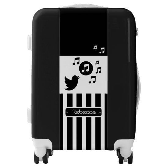 Stylish Songbird Black White Personalized Stripes Luggage