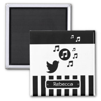 Stylish Songbird Black White Personalized Stripes 2 Inch Square Magnet