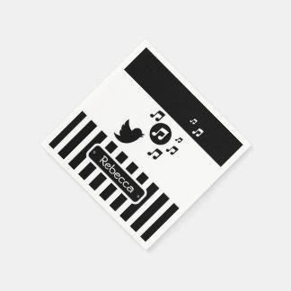 Stylish Songbird Black White Personalized Stripes Paper Napkin