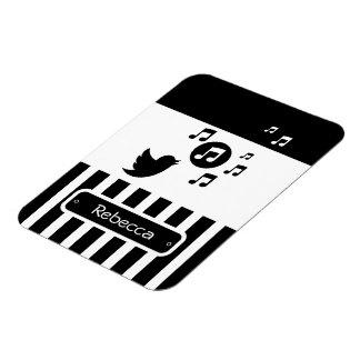 Stylish Songbird Black White Personalized Stripes Rectangular Photo Magnet