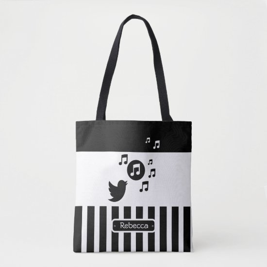 Stylish Songbird Black White Personalized Stripes Tote Bag