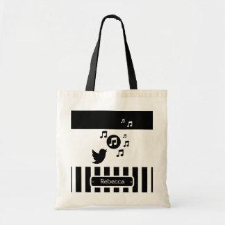 Stylish Songbird Black White Personalized Stripes Tote Bag