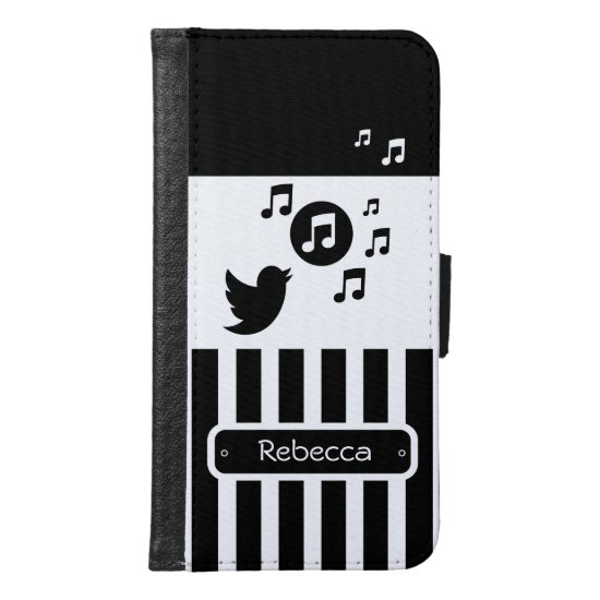 Stylish Songbird Black White Personalized Stripes Wallet Phone Case For Samsung Galaxy S6