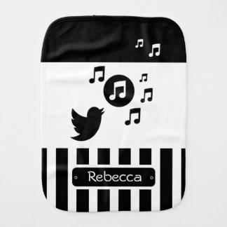 Stylish Songbird Black White Personalized Stripes Baby Burp Cloth