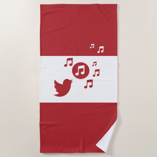 Stylish Songbird Red and White Beach Towel