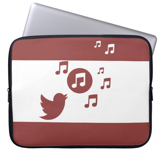 Stylish Songbird Red and White Computer Sleeve