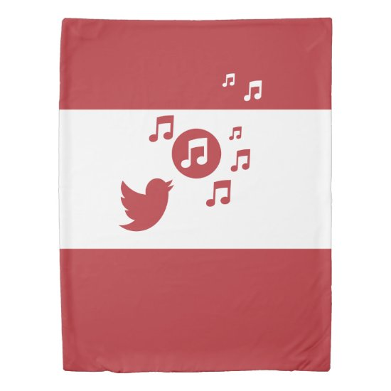 Stylish Songbird Red and White Duvet Cover