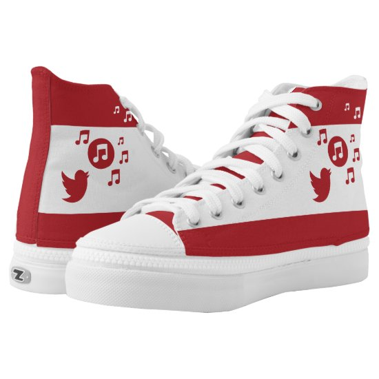 Stylish Songbird Red and White High-Top Sneakers