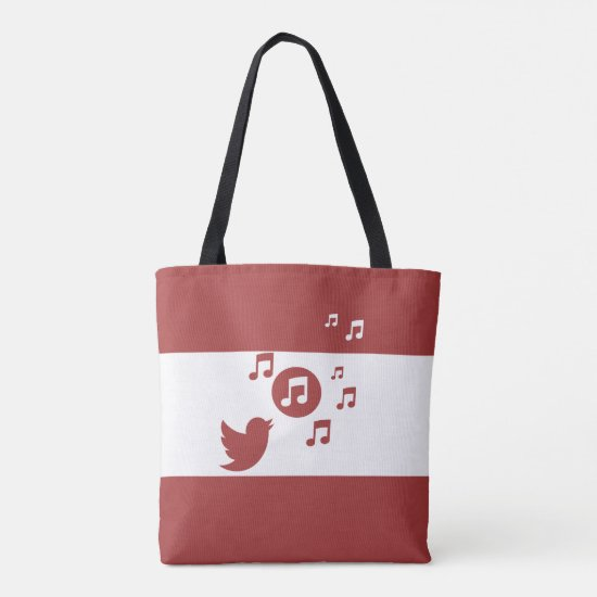 Stylish Songbird Red and White Tote Bag