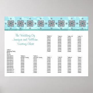 Stylish Southwest Turquoise Wedding Seating Chart Poster