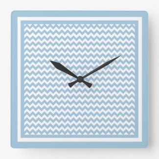 Stylish Square Wall Clock, Blue and White Chevrons