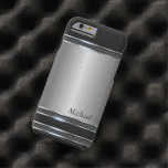 Stylish Stainless Steel Metal with Leather Tough iPhone 6 Case
