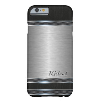 Stylish Stainless Steel Metal with Leather Look Barely There iPhone 6 Case