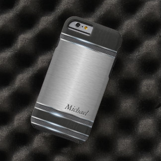 Stylish Stainless Steel Metal with Leather Look Tough iPhone 6 Case
