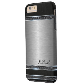 Stylish Stainless Steel Metal with Leather Look Tough iPhone 6 Plus Case