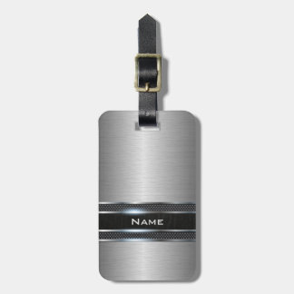 Stylish Stainless Steel Metal with Leather Stripe Travel Bag Tag