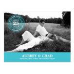 Stylish Stamp Save The Date Postcard (Turquoise) Postcards