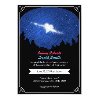 Stylish Star Heart Starry Night Wedding Invitation