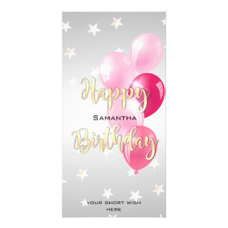 Stylish Starry Happy Birthday and Pink Balloons Card