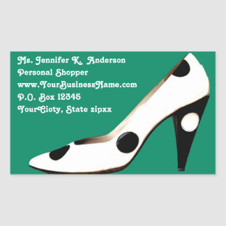 Stylish Stiletto Retail address Rectangular Sticker