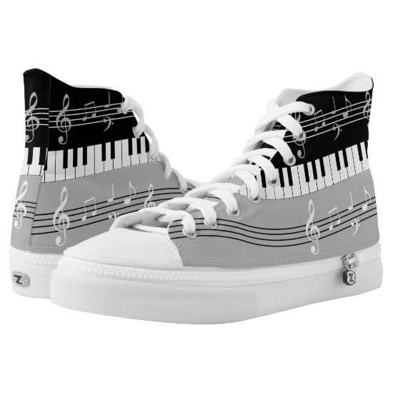 Stylish stone gray , black and  white music design High-Top sneakers