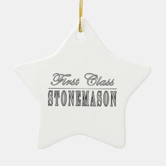 Stylish Stonemasons : First Class Stonemason Double-Sided Star Ceramic Christmas Ornament