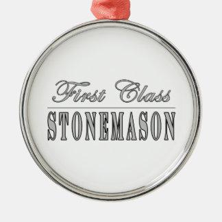 Stylish Stonemasons : First Class Stonemason Round Metal Christmas Ornament
